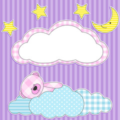 Cute card with sleeping pink teddy bear for girl.