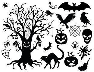 Collection of silhouettes for the halloween .