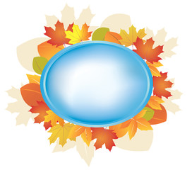 blue oval frame with autumn leaves - vector