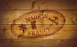 Made in France rubber stamp on wooden background