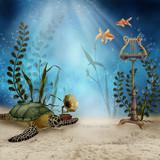 Podwodna sceneria z żółwiem i muzycznymi instrumentami