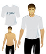 Young Male Wearing Blank T-Shirt/Vector Illustration