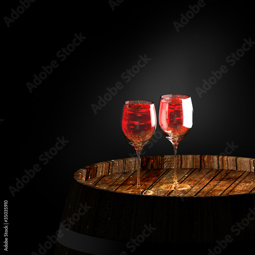 wine a on old barrel