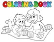 Coloring book with kids and bricks