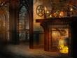 Magiczna chatka z kominkiem i świeczkami