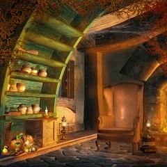 Zaczarowany pokój z fotelem i magicznymi miksturami
