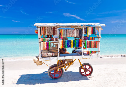 Fotobehang Caraïben Cart selling typical souvenirs on cuban beach of Varadero