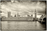 Vintage image of the Houses of Parliament in London