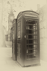 Vintage  image of London phone booths with the Big Ben