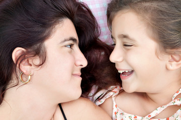 Portrait of an hispanic mother and daughter