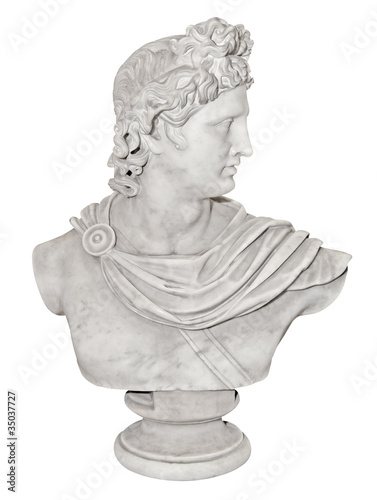Ancient statue of Alexander the Great isolated on white