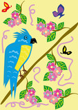 Tropical ridiculous parrot and floral background