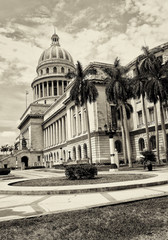 Vintage sepia view of the Capitol of Havana