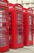 London phone booths with a desaturated background