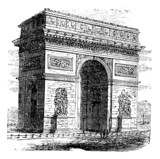 Triumphal Arch or Arc de Triomphe, Paris, France. Vintage engrav