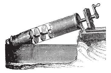 Archimedes screw vintage engraving