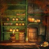 Półki z magicznymi miksturami
