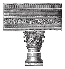 Pillar in the Church of Saint John in Constantinople. vintage en
