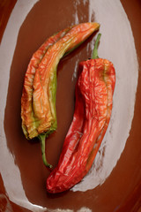 Close up of red chili pods