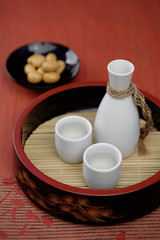 Sake and Japanese rice crackers