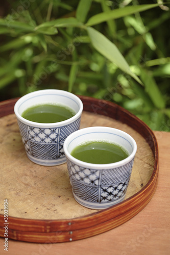 Close up of green tea in teacups