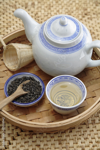 Chinese gunpowder tea service on tray