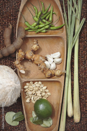 Variety of Thai cooking ingredients