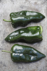 Close up of poblano chilies