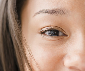 Close up of mixed race teenage girl's eye