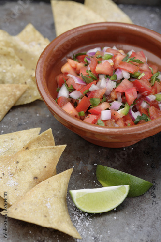 Tortilla chips and salsa fresca