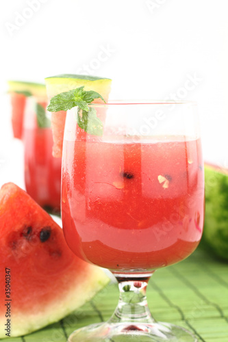 Watermelon juice decorated with mint