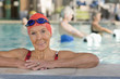 Caucasian woman leaning on edge of swimming pool