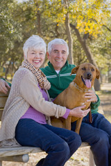 Senior couple sitting on park bench with dog