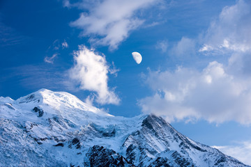 Moon over Mont Blanc.