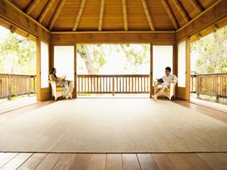 Asian couple enjoying empty retreat together