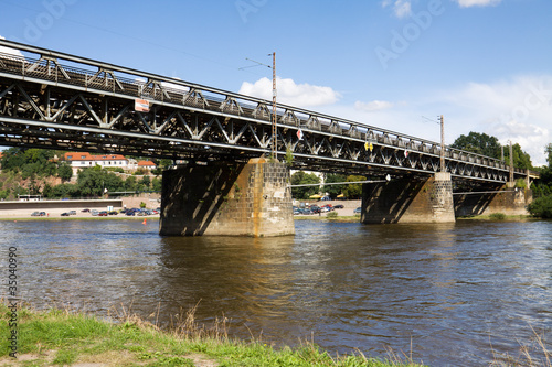 Railway bridge over the Elbe river in Meissen city