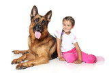 girl and German shepherd dog