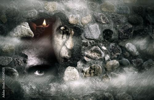 Fototapeten,halloween,friedhof,nebel,einprägen