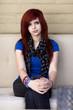 Serious Caucasian redheaded teenager