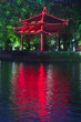 Colorful Vietnamese pagoda near water