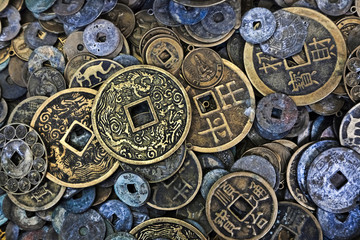 Close up of Vietnamese coins