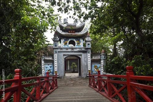Vietnamese bridge and pagoda entrance