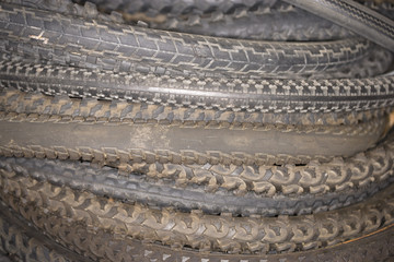 Close up of used tires