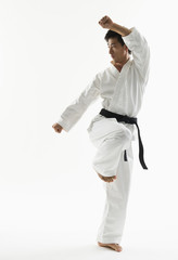 Asian male black belt practicing karate