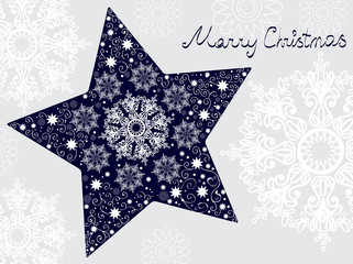 Christmas star illustration - postcard with a star