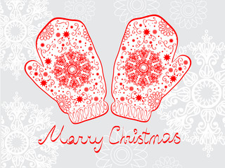 Christmas illustration - background with mittens and snowflakes