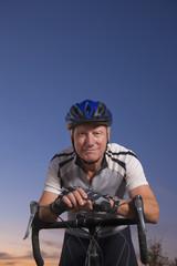 Caucasian man on bicycle