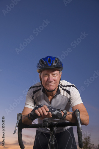 Caucasian man on bicycle