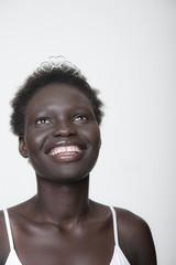 Smiling Black woman in tiara
