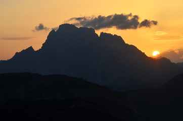 Sunset in Sesto Dolomites mountains, Italy